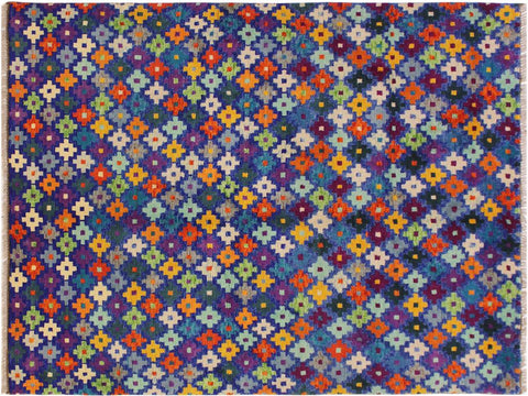 "A10795, 4' 9"" X  6' 6"",Geometric                     ,5 x 7,Blue,ORANGE,Hand-Knotted Rug                 ,Afghanistan,100% Wool  ,Rectangle  ,652671199127"