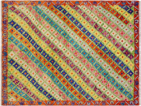 "A10796, 4' 9"" X  6' 6"",Geometric                     ,5 x 7,Green,ORANGE,Hand-Knotted Rug                 ,Afghanistan,100% Wool  ,Rectangle  ,652671199134"