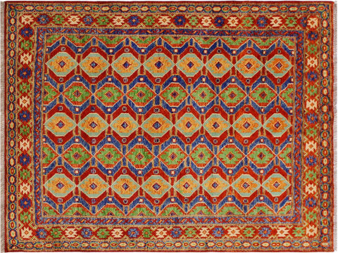 handmade Geometric Tribal Modern Balochi Red Blue Hand-Knotted RECTANGLE 100% WOOL area rug 5x7 Hand knotted indoor Afghan Balochi area rug made for all rooms with high quality wool in rich color pallet handmade by skilled artisans in geometric, transitional, tribal design are known for high quality and affordable price. Oriental rug offered at cheap discount for any decor. Balochi Baluchi Baluch soft wool rug