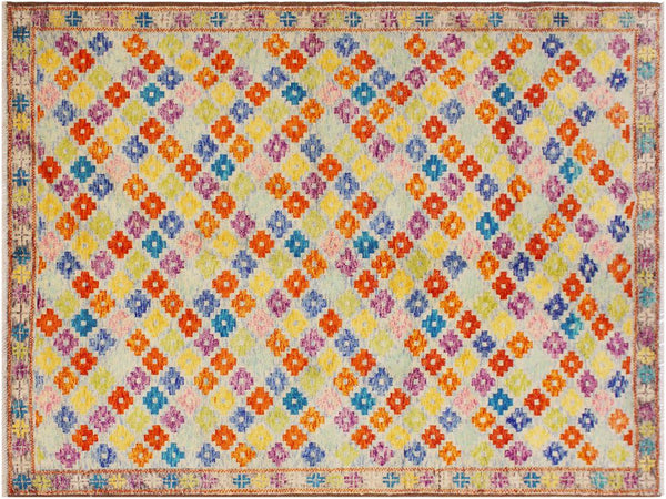 handmade Geometric Tribal Modern Balochi Blue Gray Hand-Knotted RECTANGLE 100% WOOL area rug 6x8 Hand knotted indoor Afghan Balochi area rug made for all rooms with high quality wool in rich color pallet handmade by skilled artisans in geometric, transitional, tribal design are known for high quality and affordable price. Oriental rug offered at cheap discount for any decor. Balochi Baluchi Baluch soft wool rug