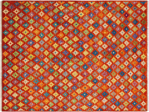 "A10852, 5' 0"" X  6' 6"",Geometric                     ,5' x 7',Orange,GREEN,Hand-knotted                  ,Afghanistan,100% Wool  ,Rectangle  ,652671199691"