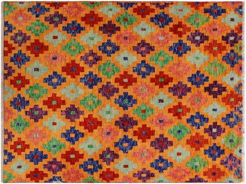 "A10856, 3' 4"" X  4'10"",Geometric                     ,3 x 5,Orange,RED,Hand-Knotted Rug                 ,Afghanistan,100% Wool  ,Rectangle  ,652671199738"
