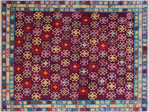 "A10860, 4'10"" X  6' 5"",Geometric                     ,5 x 6,Purple,BLUE,Hand-Knotted Rug                 ,Afghanistan,100% Wool  ,Rectangle  ,652671199776"