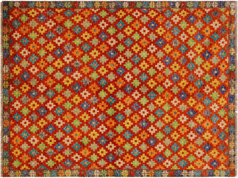 handmade Geometric Tribal Modern Balochi Orange Brown Hand-Knotted RECTANGLE 100% WOOL area rug 5x7 Hand knotted indoor Afghan Balochi area rug made for all rooms with high quality wool in rich color pallet handmade by skilled artisans in geometric, transitional, tribal design are known for high quality and affordable price. Oriental rug offered at cheap discount for any decor. Balochi Baluchi Baluch soft wool rug