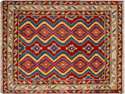 "A10877, 3' 4"" X  4'10"",Geometric                     ,3' x 5',Red,IVORY,Hand-knotted                  ,Afghanistan,100% Wool  ,Rectangle  ,652671199943"