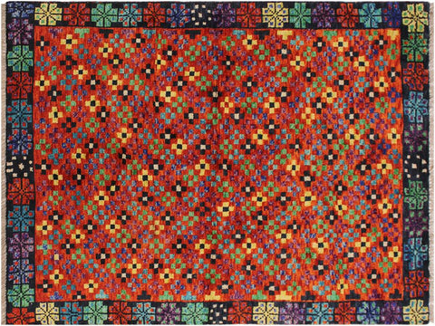 "A10880, 3' 4"" X  4' 9"",Geometric                     ,3 x 5,Orange,BLACK,Hand-Knotted Rug                 ,Afghanistan,100% Wool  ,Rectangle  ,652671199974"