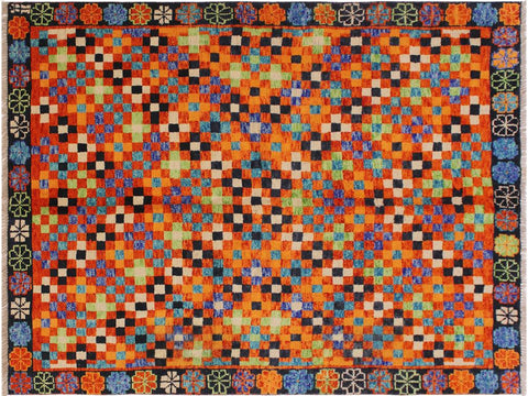 "A10881, 4' 9"" X  6' 7"",Geometric                     ,5' x 7',Orange,BLACK,Hand-knotted                  ,Afghanistan,100% Wool  ,Rectangle  ,652671199981"