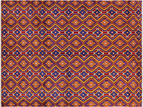 "A10889, 4'11"" X  6' 8"",Geometric                     ,5' x 7',Purple,BLUE,Hand-knotted                  ,Afghanistan,100% Wool  ,Rectangle  ,652671200069"