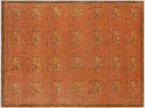 handmade Transitional Kafkaz Rust Brown Hand Knotted RECTANGLE 100% WOOL area rug 9 x 12