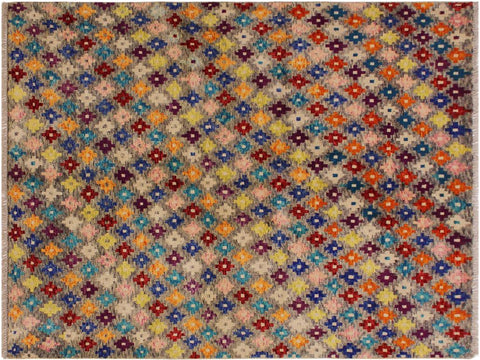"A10898, 4'10"" X  6' 6"",Geometric                     ,5' x 7',Grey,BLUE,Hand-knotted                  ,Afghanistan,100% Wool  ,Rectangle  ,652671200151"