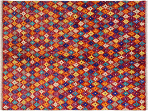 "A10909, 5' 1"" X  6' 7"",Geometric                     ,5' x 7',Red,ORANGE,Hand-knotted                  ,Afghanistan,100% Wool  ,Rectangle  ,652671200267"