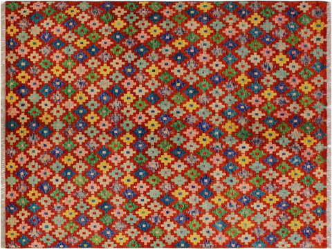 "A10910, 4'10"" X  6' 4"",Geometric                     ,5' x 6',Orange,BLUE,Hand-knotted                  ,Afghanistan,100% Wool  ,Rectangle  ,652671200274"