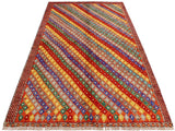 handmade Geometric Tribal Modern Balochi Orange Blue Hand-Knotted RECTANGLE 100% WOOL area rug 5x7 Hand knotted indoor Afghan Balochi area rug made for all rooms with high quality wool in rich color pallet handmade by skilled artisans in geometric, transitional, tribal design are known for high quality and affordable price. Oriental rug offered at cheap discount for any decor. Balochi Baluchi Baluch soft wool rug