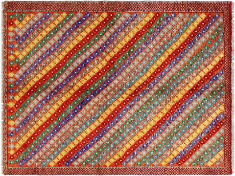 "A10915, 5' 1"" X  6' 7"",Geometric                     ,5' x 7',Orange,BLUE,Hand-knotted                  ,Afghanistan,100% Wool  ,Rectangle  ,652671200328"