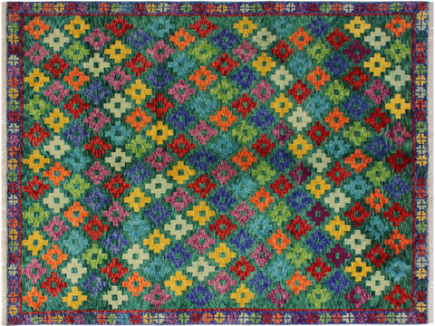 "A10917, 4'10"" X  6' 6"",Geometric                     ,5' x 7',Green,BLUE,Hand-knotted                  ,Afghanistan,100% Wool  ,Rectangle  ,652671200342"