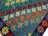 handmade Geometric Tribal Modern Balochi Teal Purple Hand-Knotted RECTANGLE 100% WOOL area rug 5x7 Hand knotted indoor Afghan Balochi area rug made for all rooms with high quality wool in rich color pallet handmade by skilled artisans in geometric, transitional, tribal design are known for high quality and affordable price. Oriental rug offered at cheap discount for any decor. Balochi Baluchi Baluch soft wool rug