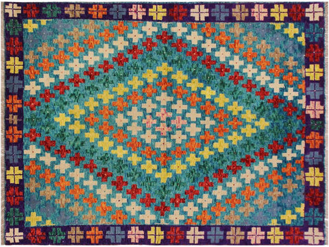"A10924, 4'11"" X  6' 6"",Geometric                     ,5' x 7',Blue,PURPLE,Hand-knotted                  ,Afghanistan,100% Wool  ,Rectangle  ,652671200410"