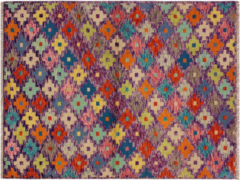 "A10929, 3' 3"" X  5' 0"",Geometric                     ,3 x 5,Purple,RUST,Hand-Knotted Rug                 ,Afghanistan,100% Wool  ,Rectangle  ,652671200465"