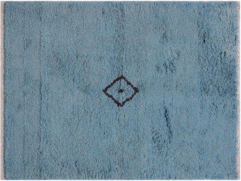 handmade Modern Moroccan Blue Brown Hand Knotted RECTANGLE 100% WOOL area rug 4x6'
