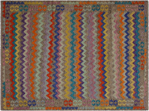 "A10956, 6' 6"" X  9'10"",Geometric                     ,7' x 10',Brown,BLUE,Hand-woven                    ,Afghanistan,100% Wool  ,Rectangle  ,652671200731"