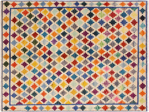 "A11001, 4'10"" X  6' 6"",Geometric                     ,5' x 7',Natural,BLUE,Hand-knotted                  ,Afghanistan,100% Wool  ,Rectangle  ,652671201189"