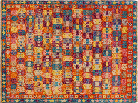 "A11002, 5' 4"" X  7' 7"",Geometric                     ,5' x 8',Orange,BLUE,Hand-knotted                  ,Afghanistan,100% Wool  ,Rectangle  ,652671201196"