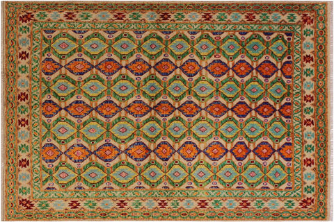 "A11006, 5' 6"" X  7' 7"",Geometric                     ,5' x 8',Natural,GREEN,Hand-knotted                  ,Afghanistan,100% Wool  ,Rectangle  ,652671201233"