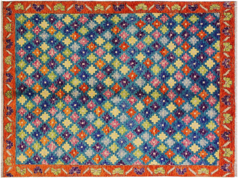 "A11008, 4'10"" X  6'11"",Geometric                     ,5' x 7',Teal,ORANGE,Hand-knotted                  ,Afghanistan,100% Wool  ,Rectangle  ,652671201257"
