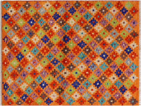 "A11014, 3' 4"" X  4' 9"",Geometric                     ,3 x 5,Orange,BLUE,Hand-Knotted Rug                 ,Afghanistan,100% Wool  ,Rectangle  ,652671201318"