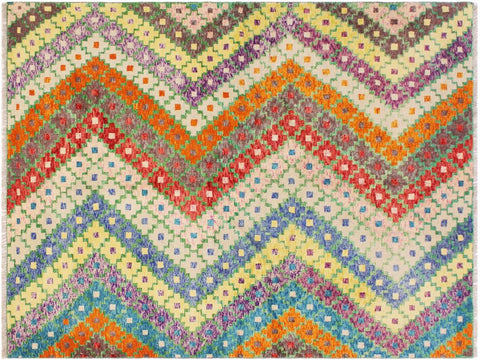 "A11015, 5' 6"" X  7' 9"",Geometric                     ,6' x 8',Blue,ORANGE,Hand-knotted                  ,Afghanistan,100% Wool  ,Rectangle  ,652671201325"