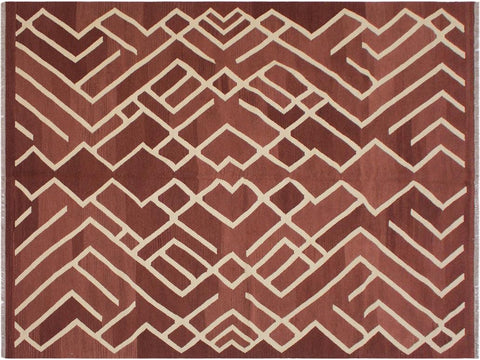 "A11047, 6' 8"" X  9'10"",Geometric                     ,7' x 10',Brown,IVORY,Hand-woven                    ,Afghanistan,100% Wool  ,Rectangle  ,652671201646"