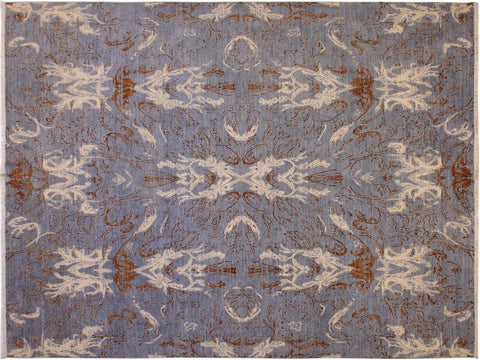 "A11089, 8'10"" X 11' 8"",Modern                        ,9' x 12',Blue,IVORY,Hand-knotted                  ,Afghanistan,100% Wool  ,Rectangle  ,652671202063"