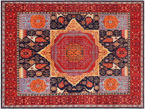 handmade Geometric Mamluk Blue Red Hand Knotted RECTANGLE 100% WOOL area rug 9 x12 Hand knotted indoor mamluk wool area rug made for all rooms with high quality wool in rich color pallet handmade by skilled artisans in geometric, tribal design with center medallion is known for quality wool and affordable price. Oriental hand made rug offered at cheap discount for any decor one of a kind Mamluk Rug