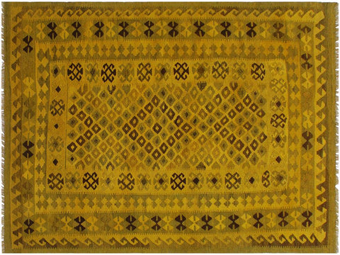 "A11137, 5' 2"" X  7' 8"",Geometric                     ,5' x 8',Yellow,BROWN,Hand-woven                    ,Afghanistan,100% Wool  ,Rectangle  ,652671202544"
