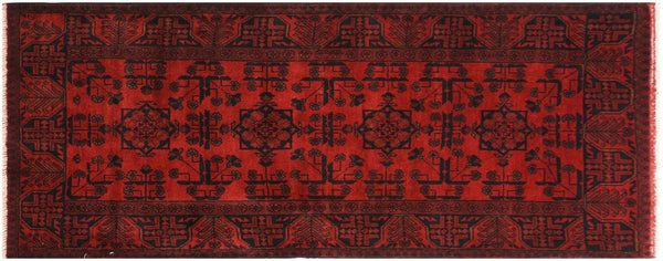 "A11169, 2' 9"" X  6' 0"",Geometric                     ,3' x 6',Burgundy,BLACK,Hand-knotted                  ,Afghanistan,100% Wool  ,Runner     ,652671202865"