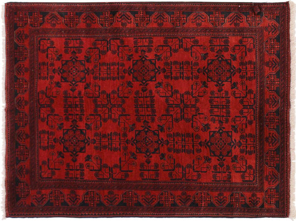 "A11174, 4' 2"" X  6' 4"",Geometric                     ,4' x 6',Burgundy,BLACK,Hand-knotted                  ,Afghanistan,100% Wool  ,Rectangle  ,652671202919"