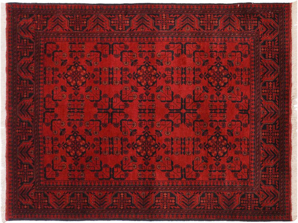 "A11178, 4' 2"" X  6' 4"",Geometric                     ,4' x 6',Burgundy,BLACK,Hand-knotted                  ,Afghanistan,100% Wool  ,Rectangle  ,652671202957"