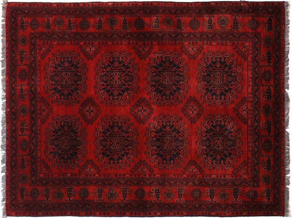 "A11180, 4' 1"" X  6' 4"",Geometric                     ,4' x 6',Burgundy,BLACK,Hand-knotted                  ,Afghanistan,100% Wool  ,Rectangle  ,652671202971"