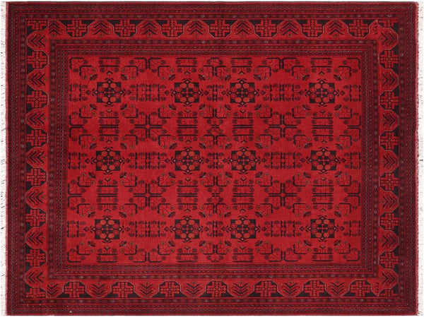 "A11188, 6' 0"" X  8' 0"",Geometric                     ,6' x 8',Burgundy,BLACK,Hand-knotted                  ,Afghanistan,100% Wool  ,Rectangle  ,652671203053"