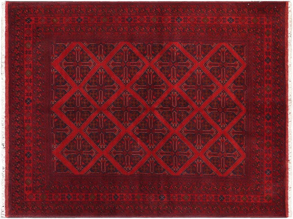 "A11189, 5' 6"" X  7' 5"",Geometric                     ,5' x 7',Burgundy,BLACK,Hand-knotted                  ,Afghanistan,100% Wool  ,Rectangle  ,652671203060"