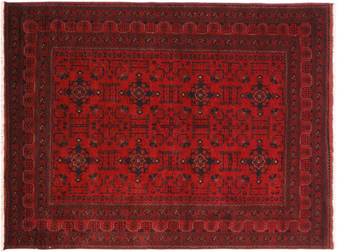 "A11190, 5' 9"" X  7' 8"",Geometric                     ,6' x 8',Burgundy,BLACK,Hand-knotted                  ,Afghanistan,100% Wool  ,Rectangle  ,652671203077"