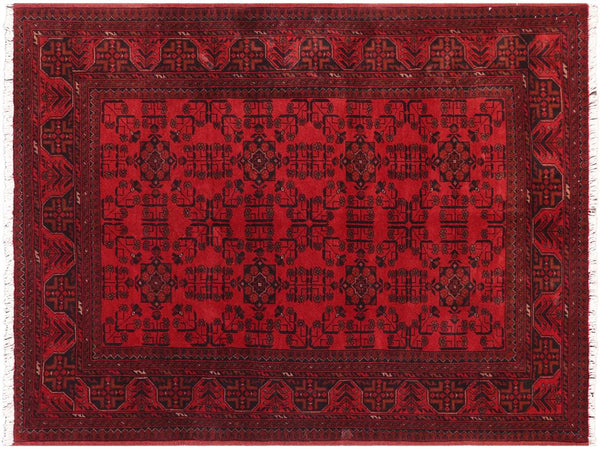 "A11192, 4' 9"" X  6' 6"",Geometric                     ,5' x 6',Burgundy,BLACK,Hand-knotted                  ,Afghanistan,100% Wool  ,Rectangle  ,652671203091"