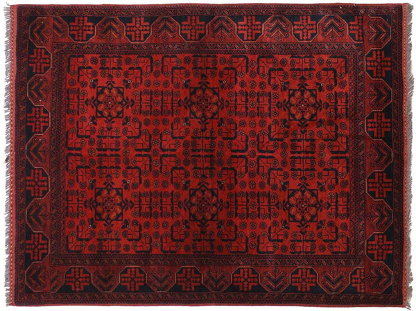 "A11197, 4' 4"" X  6' 5"",Geometric                     ,4' x 6',Burgundy,BLACK,Hand-knotted                  ,Afghanistan,100% Wool  ,Rectangle  ,652671203145"