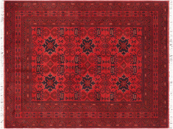 "A11199, 5' 7"" X  7' 8"",Geometric                     ,6' x 8',Burgundy,BLACK,Hand-knotted                  ,Afghanistan,100% Wool  ,Rectangle  ,652671203169"