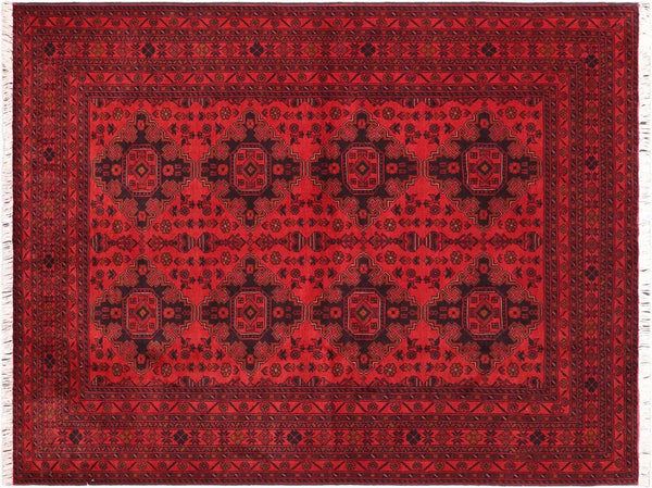 "A11200, 5' 9"" X  7' 9"",Geometric                     ,6' x 8',Burgundy,BLACK,Hand-knotted                  ,Afghanistan,100% Wool  ,Rectangle  ,652671203176"