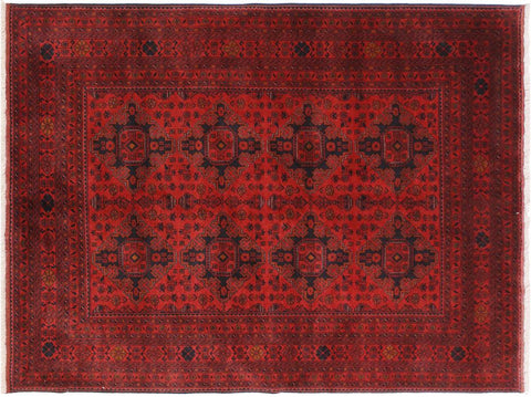 "A11204, 5' 8"" X  7' 8"",Geometric                     ,6' x 8',Burgundy,BLACK,Hand-knotted                  ,Afghanistan,100% Wool  ,Rectangle  ,652671203213"