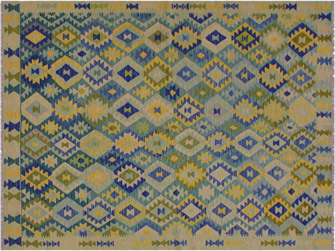 "A11260, 6' 6"" X  9' 9"",Geometric                     ,7' x 10',Green,BLUE,Hand-woven                    ,Afghanistan,100% Wool  ,Rectangle  ,652671204319"