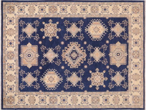 handmade Traditional Kafkaz Blue Beige Hand Knotted RECTANGLE 100% WOOL area rug 10 x 13