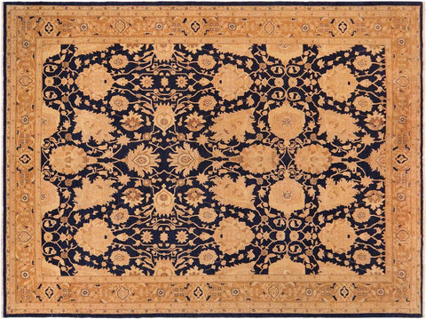 handmade Transitional Antique Blue Brown Hand Knotted RECTANGLE 100% WOOL area rug 10 x 13