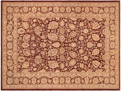 handmade Transitional Kafkaz Brown Beige Hand Knotted RECTANGLE 100% WOOL area rug 10' x 14'